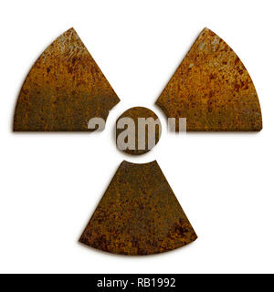 Radioactive (ionizing radiation) nuclear danger symbol made of rusty metal grungy texture and isolated on seamless white background. - Stock Photo