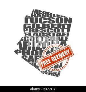 Word cloud map of Arizona state - Stock Photo