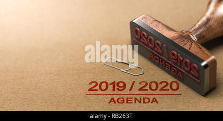 Rubber stamp and 2019 2020 agenda printed on kraft paper background. 3d illustration. - Stock Photo