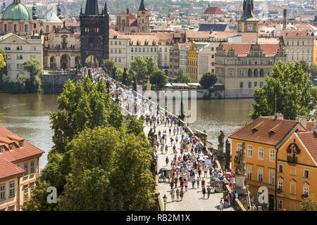 PRAGUE, CZECH REPUBLIC - JULY 2018: Aerial view of the Charles Bridge in Prague from from the top of the Lesser Town Bridge Tower. - Stock Photo