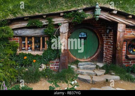 A Hobbit Hole in the Shire at Hobbiton, Matamata, New Zealand, January 21, 2018 - Stock Photo