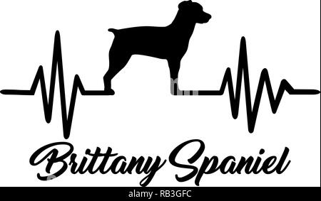 Heartbeat pulse line with Brittany Spaniel dog silhouette - Stock Photo