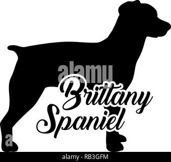 Brittany Spaniel silhouette real with word - Stock Photo