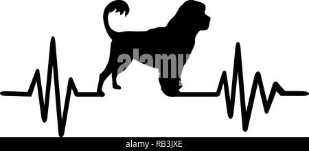 Heartbeat pulse line with Portuguese water dog silhouette - Stock Photo