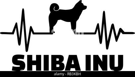 Heartbeat pulse line with shiba inu dog silhouette - Stock Photo