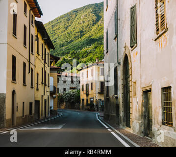 driving a car through Lobardy in Italy, Lake Iseo - Stock Photo