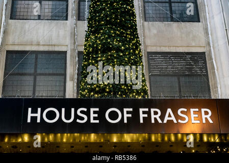 House of Fraser store in Oxford Street London, with Christmas decorations. - Stock Photo