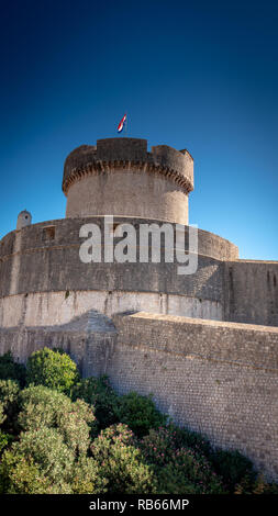 City Wall of the old town in Dubrovnik with Minceta Tower, Croatia - Stock Photo