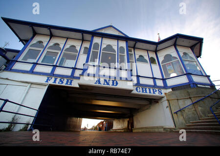 Fish and chip shop on Eastbourne promenade, East Sussex, UK - Stock Photo