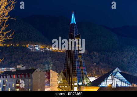 Andorra, Escaldes - Engordany  - 06.01.2019, Caldea Thermal Complex, Caldea Wellness Thermal Complex. - Stock Photo
