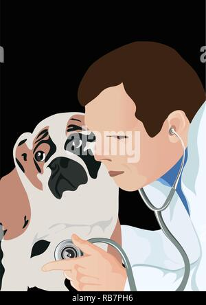 veterinarian with phonendoscope and dog, veterinarian examining dog and listening with stethoscope during checkup, vector illustration - Stock Photo