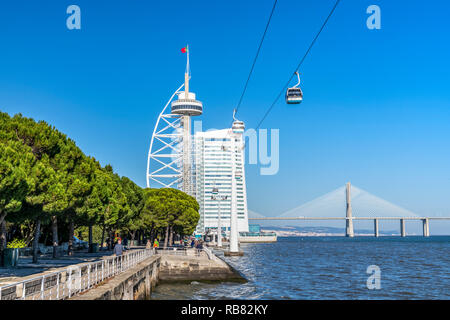 Vasco da Gama Tower and Myriad Hotel skyscraper, Parque das Nacoes, Lisbon, Portugal - Stock Photo