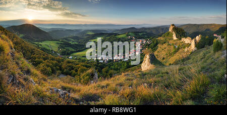 Moutain and village  at sunset - Slovakia - Stock Photo