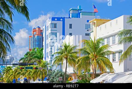 Ocean Drive, South Beach, Miami, Florida, USA - Stock Photo