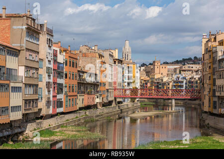 Colorful houses in Girona, Catalonia, Spain. - Stock Photo