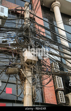 A lot of electrical cables and wires in Kathmandu,Nepal - Stock Photo