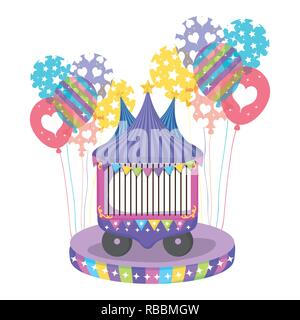 circus car with entertainment ball event - Stock Photo