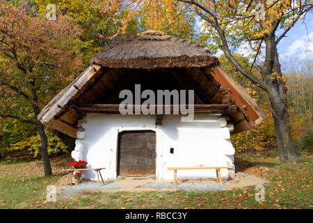 A single building from the so called `Row of Wine Cellars` open-air museum in Cak, Hungary. Small house for pressing grapes and storing fruits, especi - Stock Photo