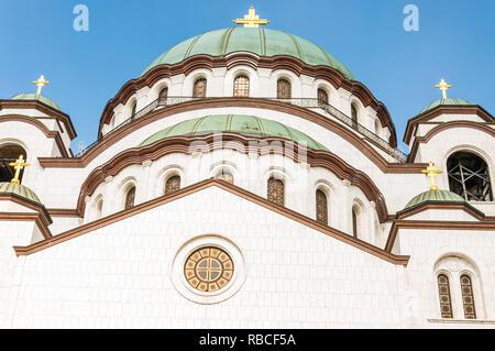 Belgrade, Serbia - June 09, 2013: Famous Saint Sava church exterior facade architecture in Belgrade, Serbia - Stock Photo