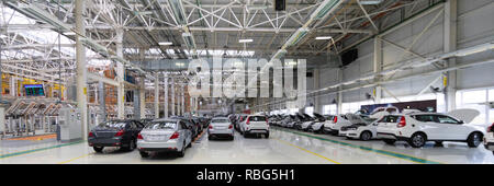 Automotive production line. Long format. Wide angle view of plant of automotive industry. Can be used as a banner - Stock Photo