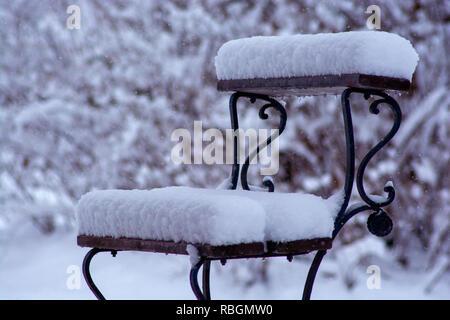 Old graveyard bench - Stock Photo