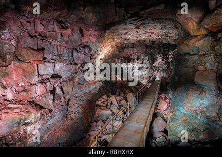 Raufarholshellir lava tube cave, Iceland - Stock Photo