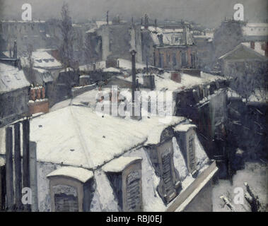Vue de toits (effet de neige) Rooftops in the Snow (snow effect). Date/Period: 1878. Painting. Oil on canvas. Height: 640 mm (25.19 in); Width: 820 mm (32.28 in). Author: Gustave Caillebotte. CAILLEBOTTE, GUSTAVE. - Stock Photo