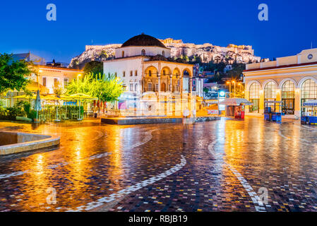 Athens, Greece -  Night image with Athens from above, Monastiraki Square and ancient Acropolis. - Stock Photo
