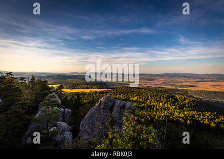 Scenic view on Polish autumn landscape from top of Table mountains - Stock Photo