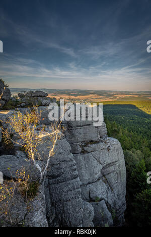 Sunset scenic view on cliff of Table mountains - Stock Photo