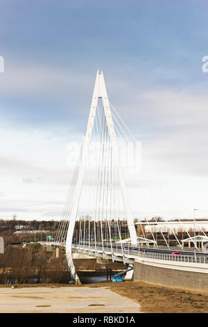 Northern Spire Bridge spans the river Wear, opened on 28th April 2018 at a cost of £117.6m. - Stock Photo