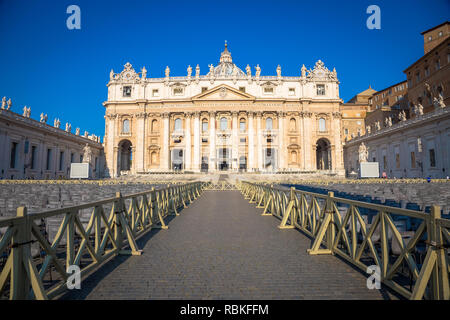 ROME, VATICAN STATE - AUGUST 20, 2018: Saint Peter Cathedral in Vatican with the famous Cupola, early morning daylight and still few tourists. - Stock Photo