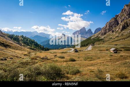 Beautiful mountain landscape around the Pass Pordoi. Dolomites, Trentino Alto Adige, northern Italy. - Stock Photo
