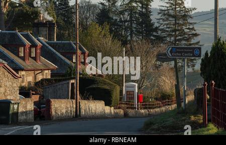 Rhynd village illuminated by winter sunshine near Perth, Scotland, UK - Stock Photo