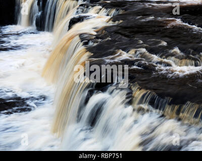 Upper Aysgarth Falls on the River Ure in Wensleydale Yorkshire Dales England - Stock Photo