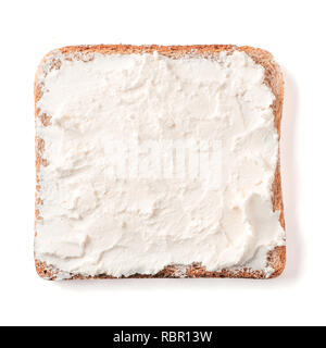 Bread slice plaster soft curd cheese isolated on white, clipping path. Slice of multigrain bread square form with white soft cheese for toast. Top view or flat lay. - Stock Photo