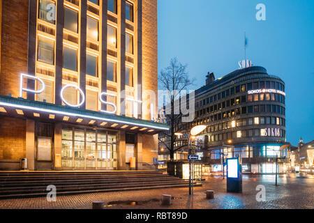 Helsinki, Finland - December 8, 2016: Post Office Building And Original Sokos Hotel In Evening Night Illumination. - Stock Photo