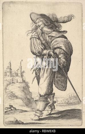 397278 A gentleman, walking towards the left and drawing his sword from the sheath, wearing a plumed hat and boots with spurs - Stock Photo