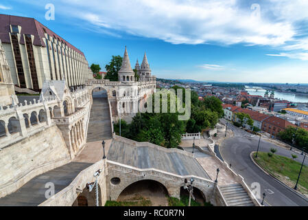 Cityscape view of Budapest, Hungary and Fishermans Bastion - Stock Photo