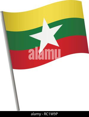 Myanmar flag icon. National flag of Myanmar on a pole vector illustration. - Stock Photo