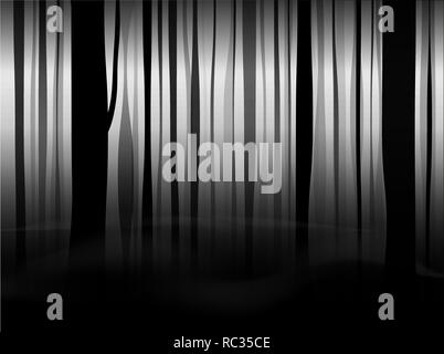 Mystical black forest with fog and smoke. Black and white fairy background. Copy space. - Stock Photo