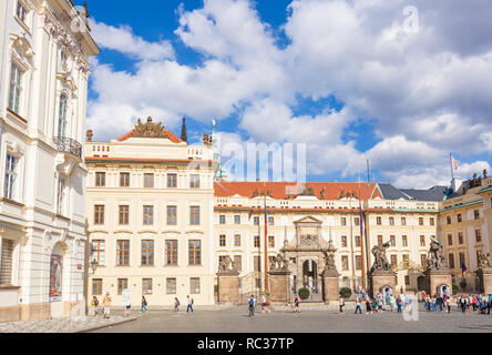 Prague castle Hradcany Square and first courtyard with the Archbishops Palace Matthias Gate Prague Castle Pražský hrad praha Czech Republic Europe - Stock Photo