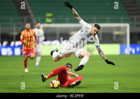 Milan, Italy. 13th Jan 2019. Forward Mauro Icardi (Inter) during the Italian Cup 'Coppa Italia' football match, Inter Milan vs Benevento Calcio at San Siro Meazza Stadium in Milan, Italy on 13 January 2019. The football match is played behind closed doors after Napoli's Senegalese player Kalidou Koulibaly was subject to racist chants by FC Internazionale's 'ultra' fans during the Boxing Day match. Credit: Piero Cruciatti/Alamy Live News - Stock Photo