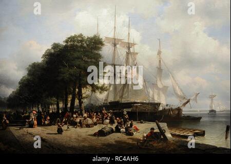 Frans Breuhaus de Groot (1824-1872). Dutch painter. Departure of Emigrants to America. Oil on canvas.The State Hermitage Museum. Saint Petersburg. Russia. - Stock Photo