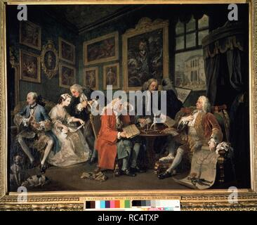 Marriage à-la-mode. 1. The Marriage Settlement. Museum: National Gallery, London. Author: HOGARTH, WILLIAM. - Stock Photo