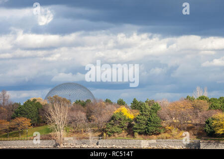 MONTREAL, CANADA - NOVEMBER 7, 2018: Montreal Biosphere, on Ile Sainte Helene Island, in Jean Drapeau park, taken during an autumn afternoon. It is on - Stock Photo