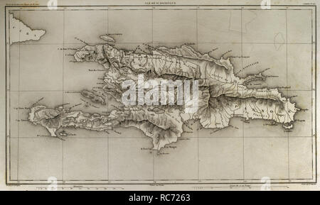 Napoleonic map. Island of Santo Domingo. Napoleon re-established slavery on the island, sending thousands of soldiers in 1802. Half of the French troops died because of yellow fever. Atlas de l'Histoire du Consulat et de l'Empire. History of the Consulate and the Empire of France under Napoleon by Marie Joseph Louis Adolphe Thiers (1797-1877). Drawings by Dufour and engravings by Dyonnet. Edited in Paris, 1864. - Stock Photo