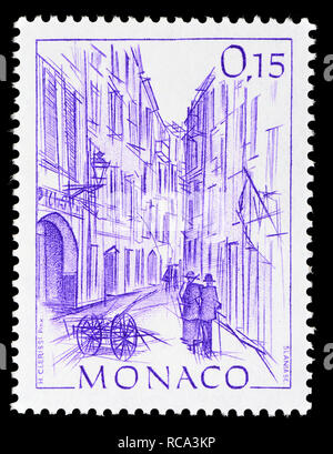 Monaco postage stamp (1984): Early Views of Monaco definitive series: Rue Basse - Stock Photo