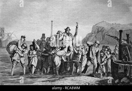 Holidaymakers arriving on the island of Capri, Italy, historical engraving, 1869 - Stock Photo