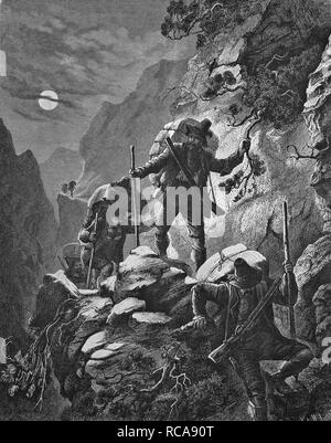 Nocturnal smugglers' run in the Alps, historical engraving, 1869 - Stock Photo